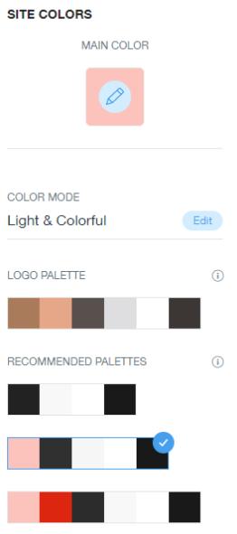 Suggestions de palette de couleurs Wix pour la cohérence de la marque.