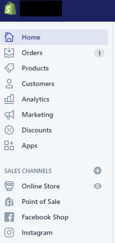 Shopify's sidebar for managing the store, customers, sales channels, and promotions.