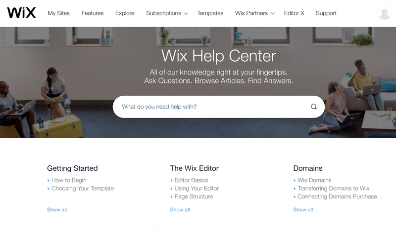 The Wix support center to get help or answers to questions.