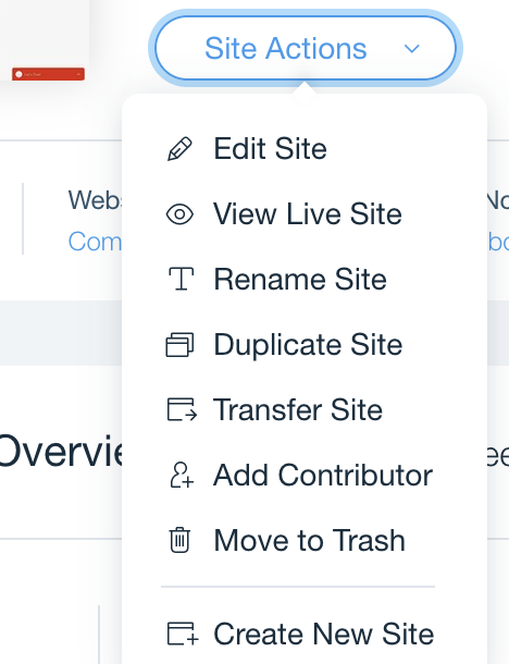 The actions section to edit the site with Wix.