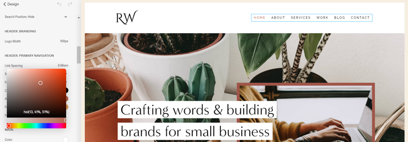 The Squarespace design tool used to edit colors in the front page of a site.