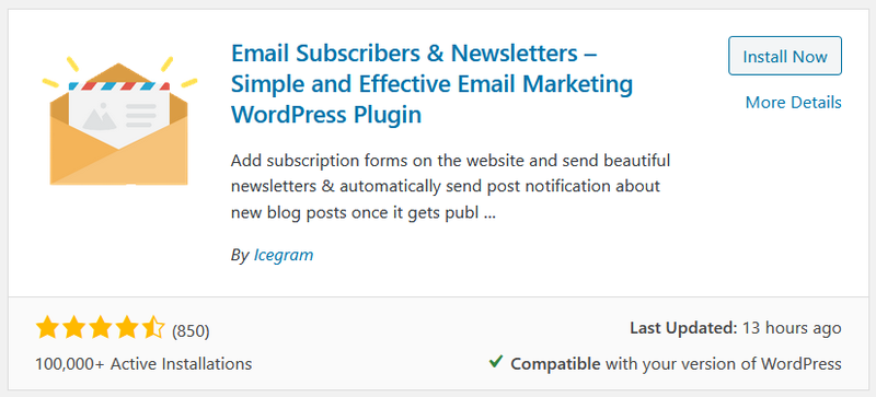 """A screenshot of the """"Email Subscribers & Newsletters"""" plug-in in WordPress."""