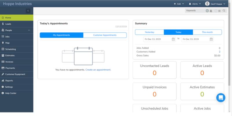 A screenshot of mHelpDesk's home dashboard.