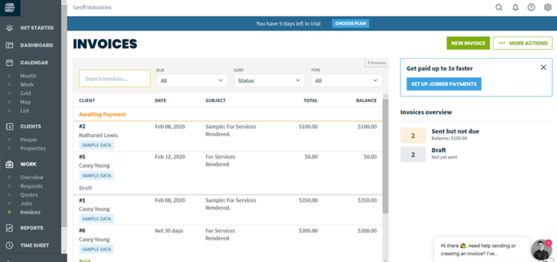 A screenshot of Jobber's invoices dashboard.