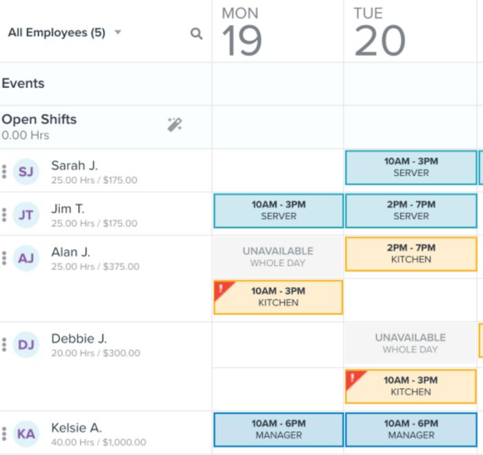 HomeBase's Work Schedule