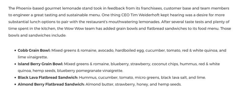 Press release on Wow Wow Hawaiian Lemonade