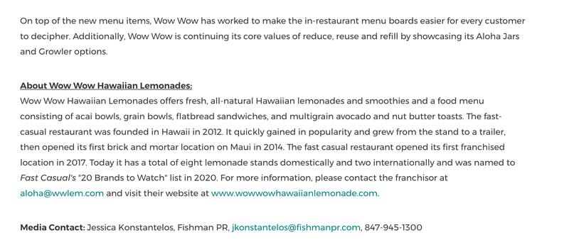 Information about Wow Wow Hawaiian Lemonade