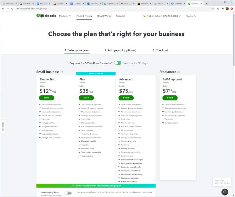 QuickBooks Online's four pricing plans.