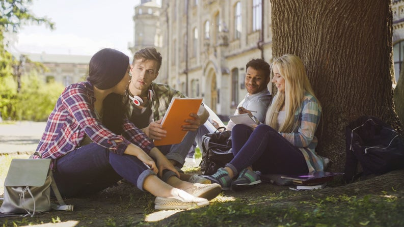 Four college students studying on a lawn in front of a campus building.