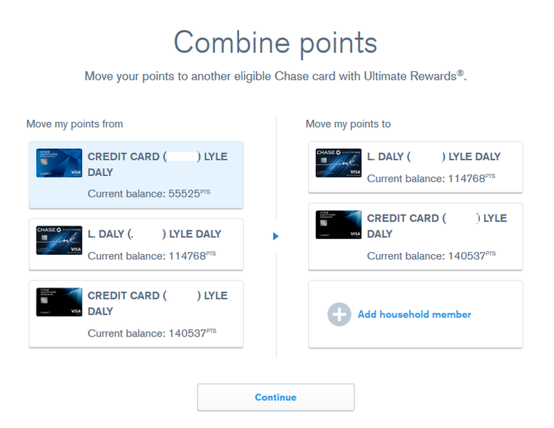 """chase ultimate rewards website """"combine points"""" screen"""