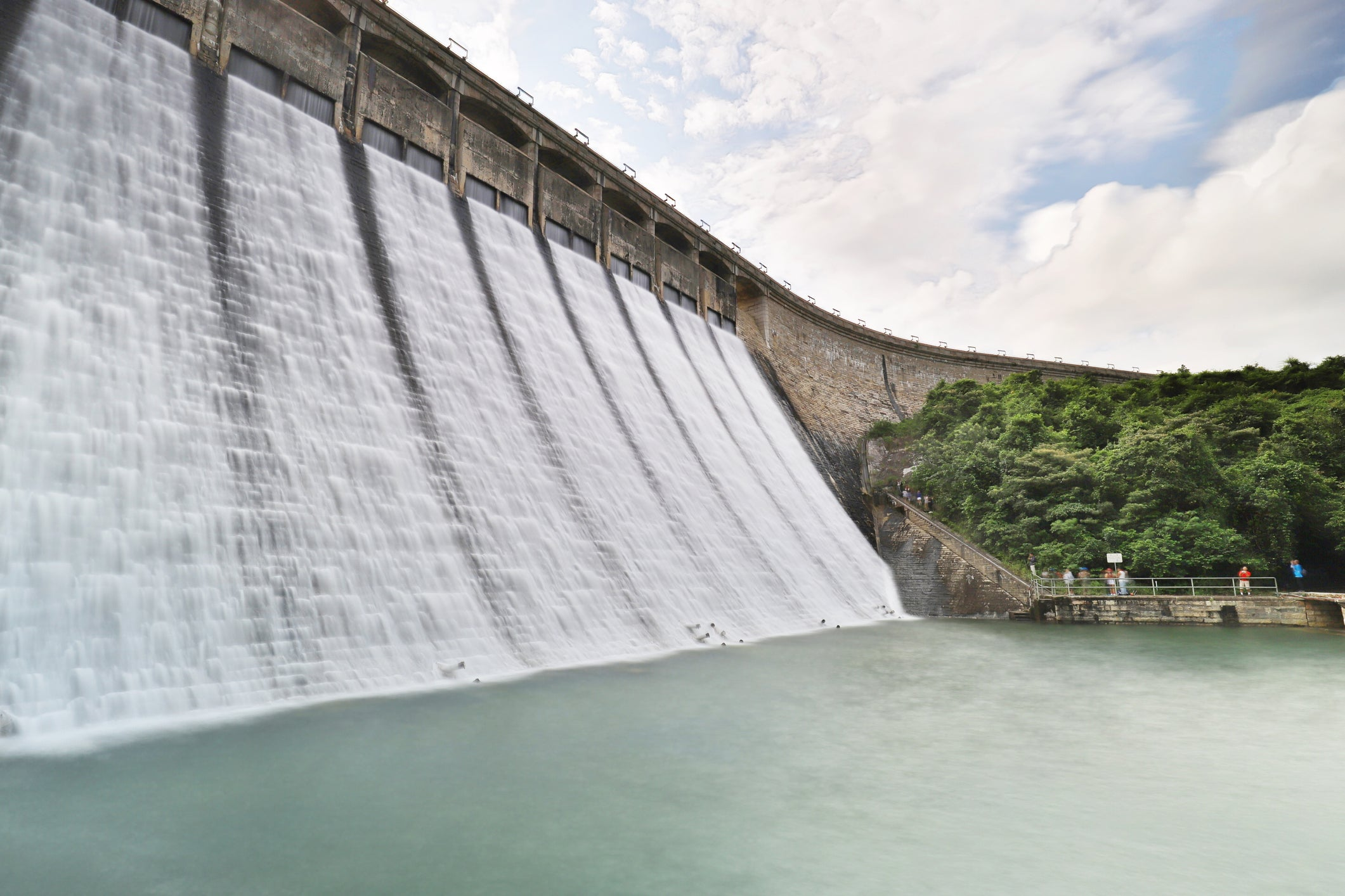 A dam holding off water.