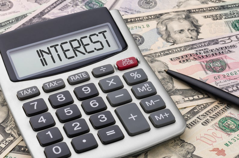 Interest calculator with money