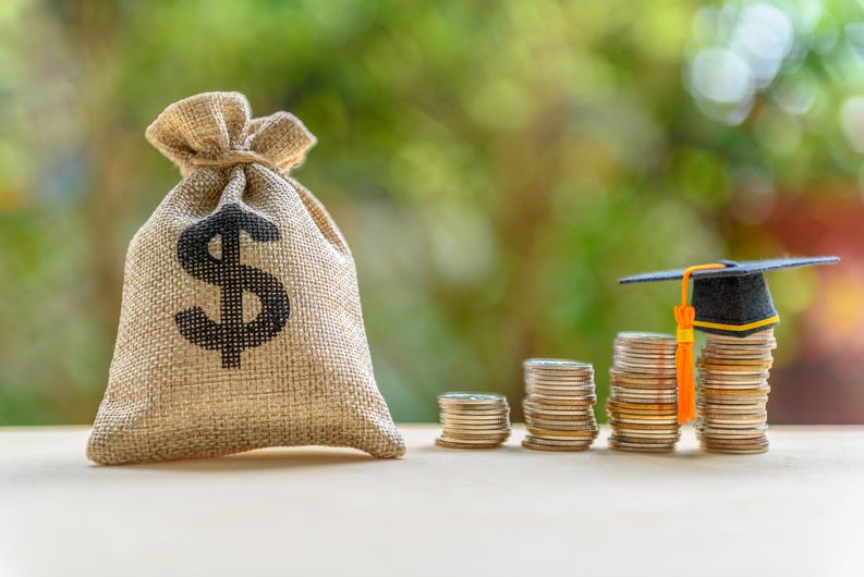 Money bag and coins with graduation cap.