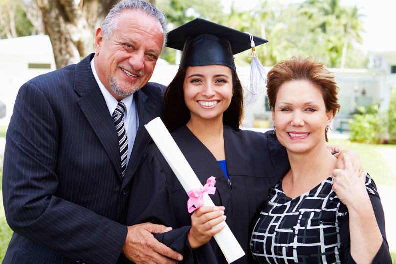 Parents with college student at graduation-1