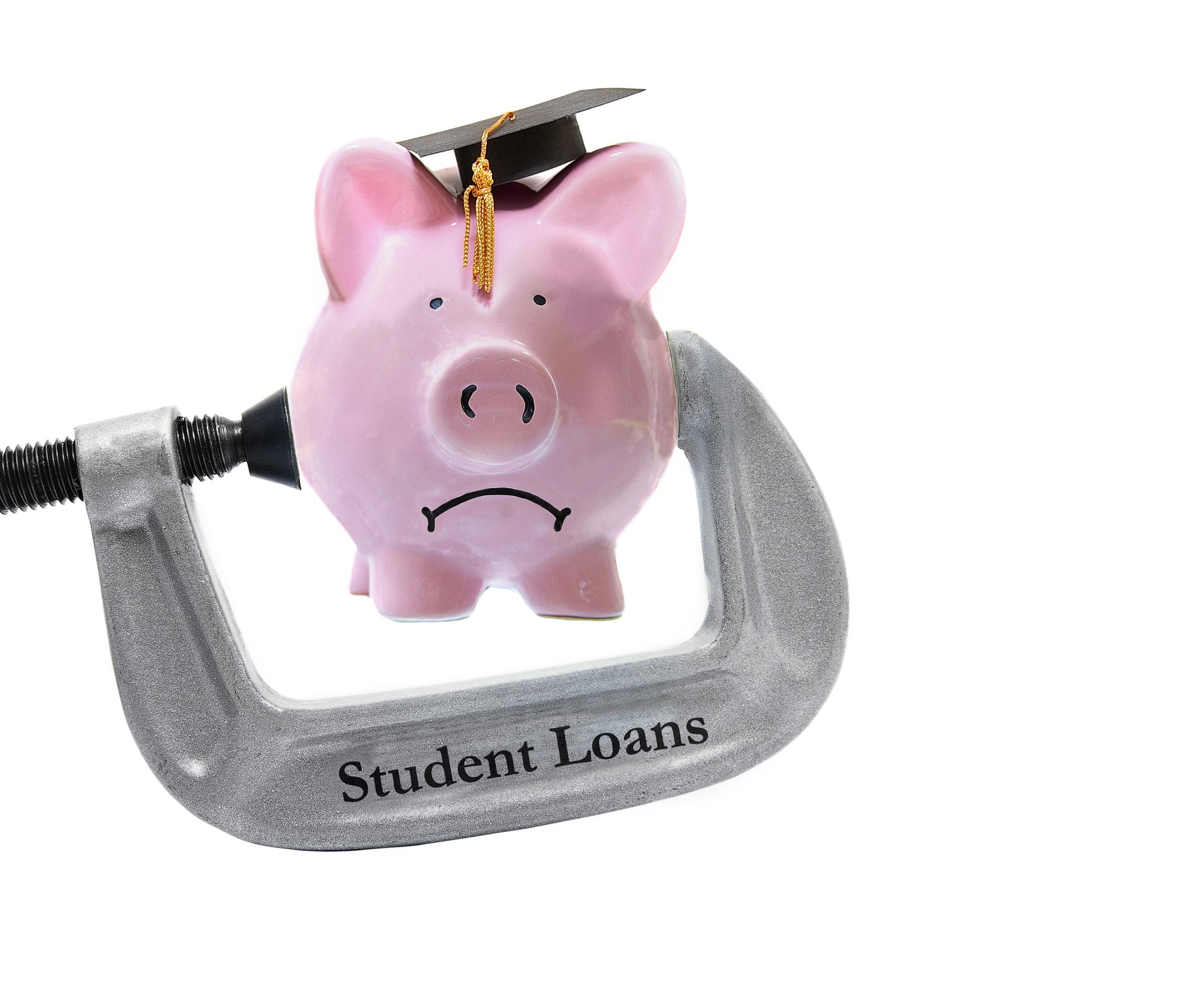 """A piggy bank wearing a graduation cap being squeezed by a vise labelled """"Student Loans""""."""