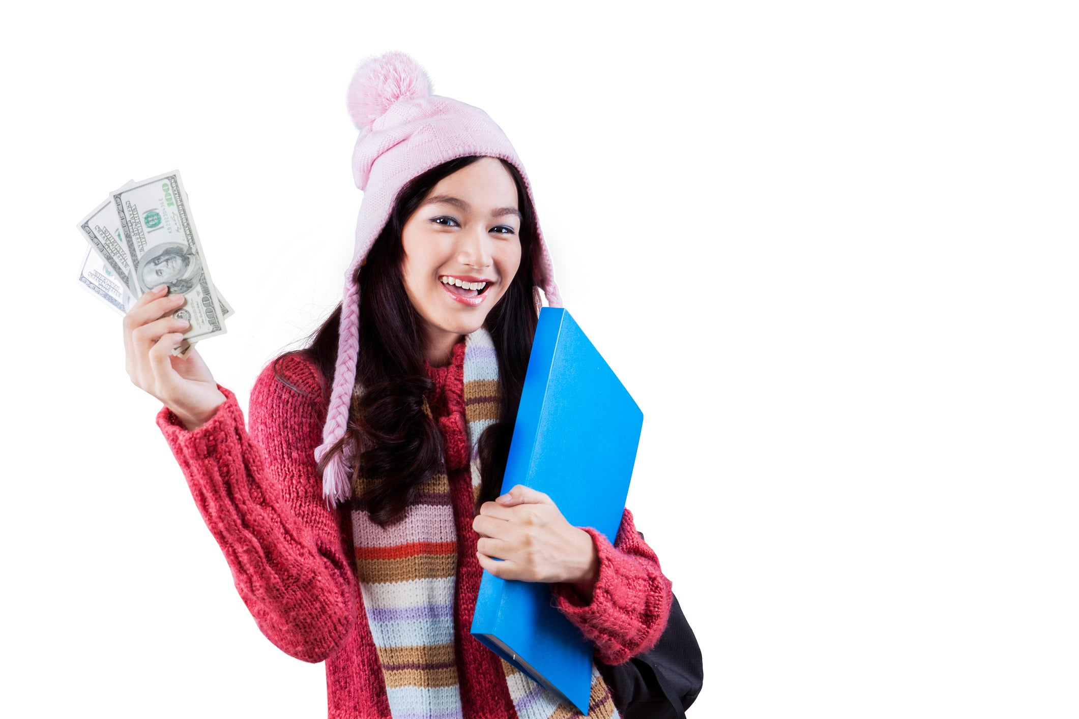 Young woman holding a folder and money.