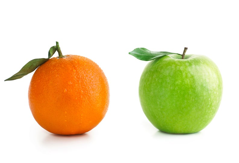 A green apple and an orange.