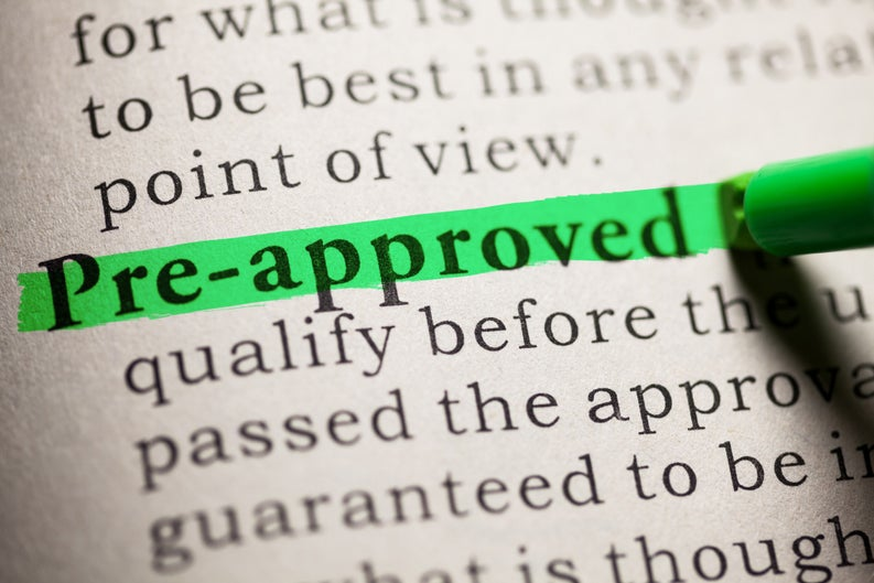"the word ""pre-approved"" being highlighted in the dictionary"