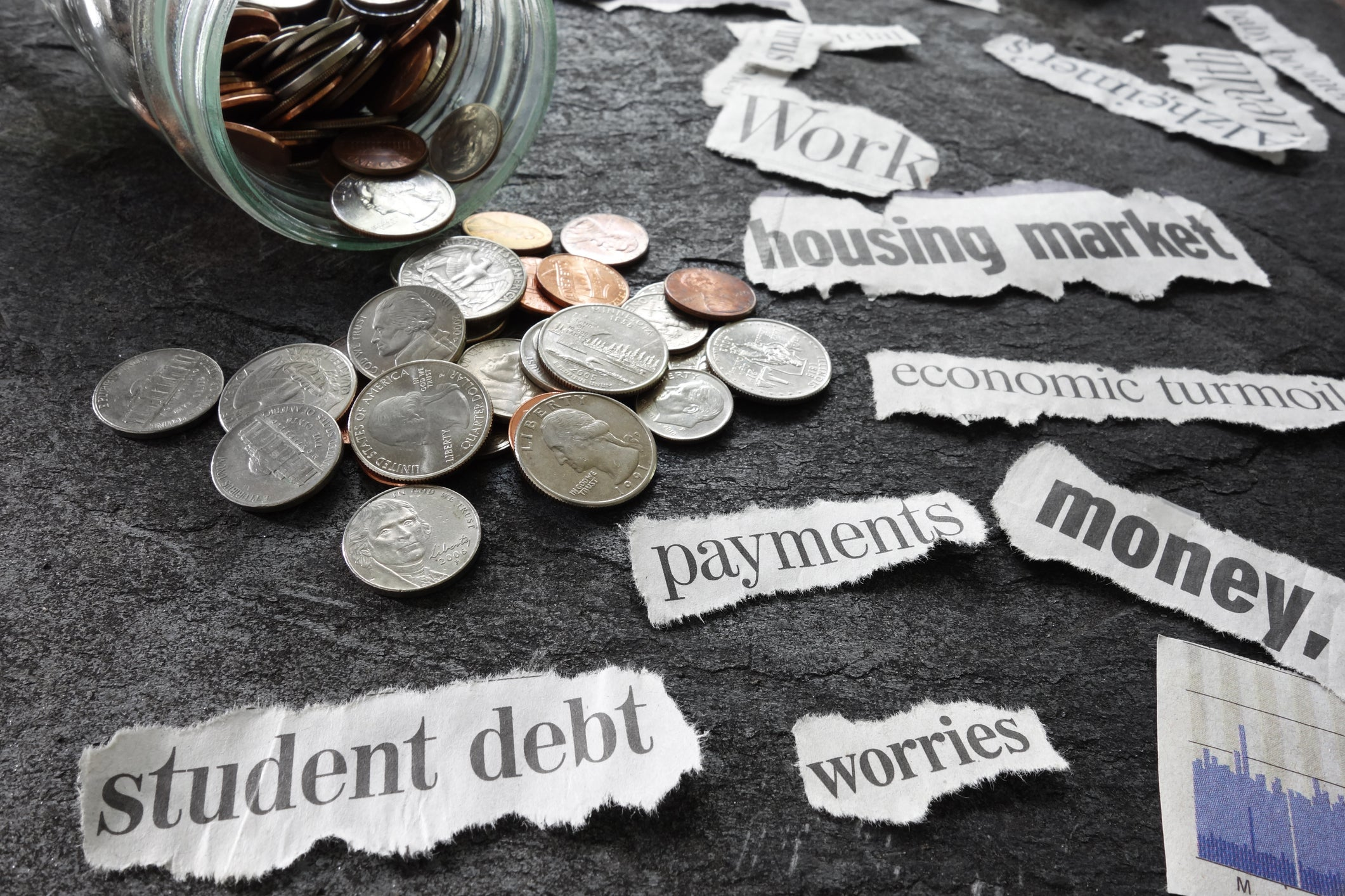 Jar of coins surrounded by words related to student debt