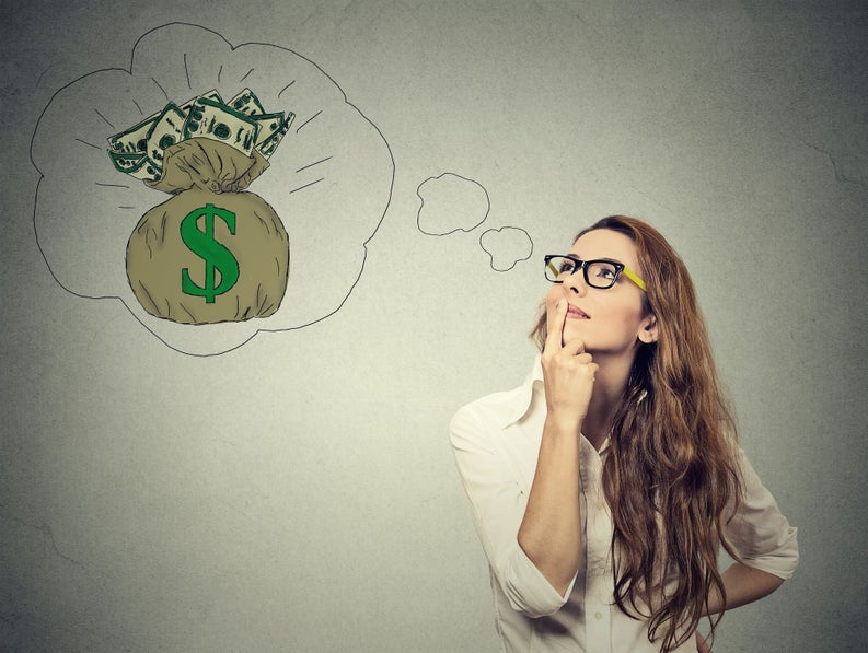 woman thinking about how to make money